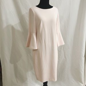 Calvin Klein Blush Fitted Dress w/ Bell Sleeves